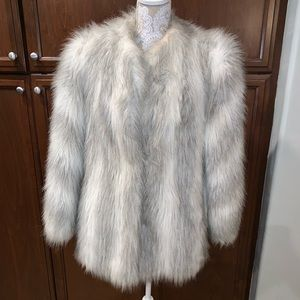 Jackets & Blazers - Faux Fox Fur striped gray white coat jacket EUC